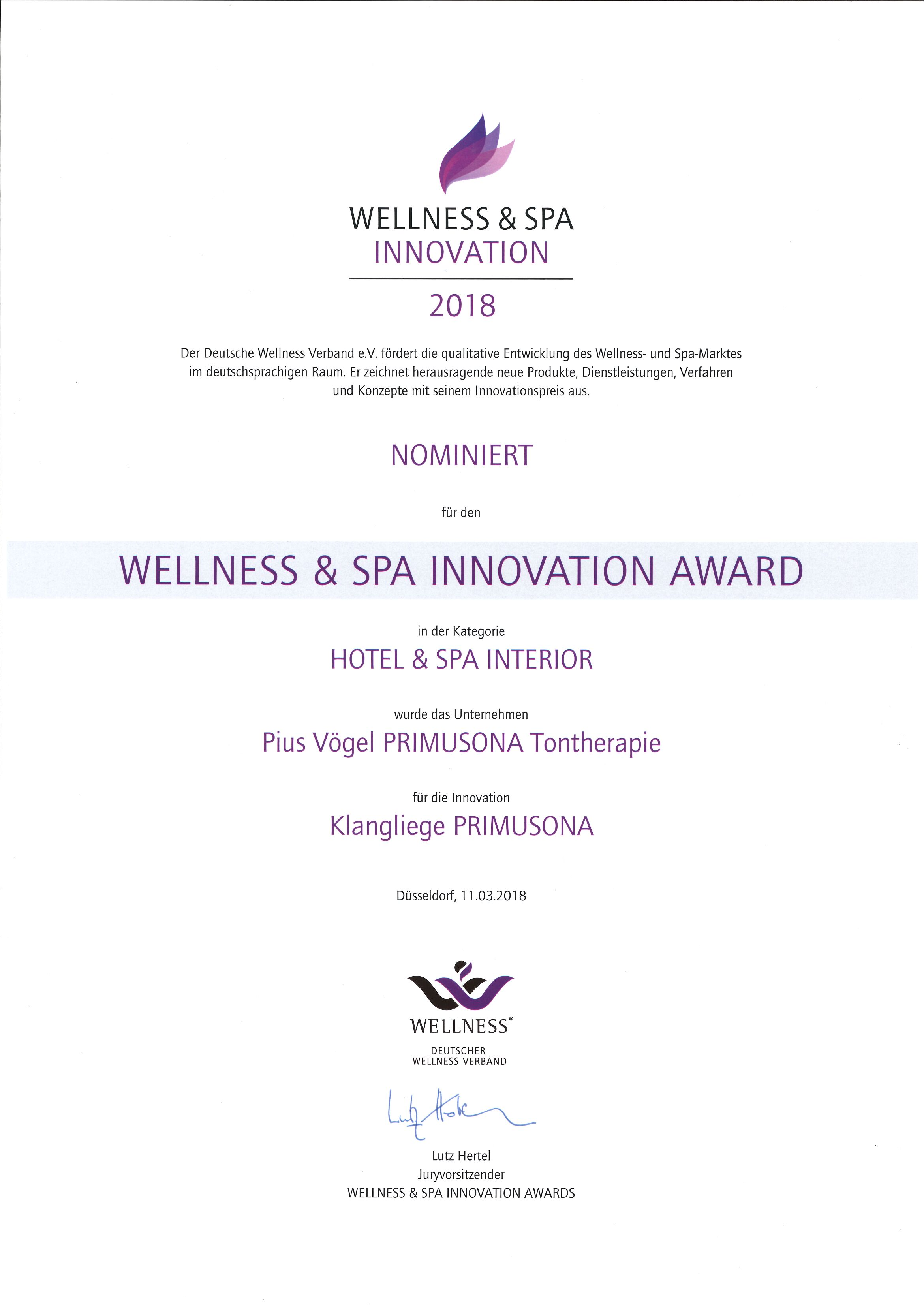 Wellness & Spa Innovation-Award 2018